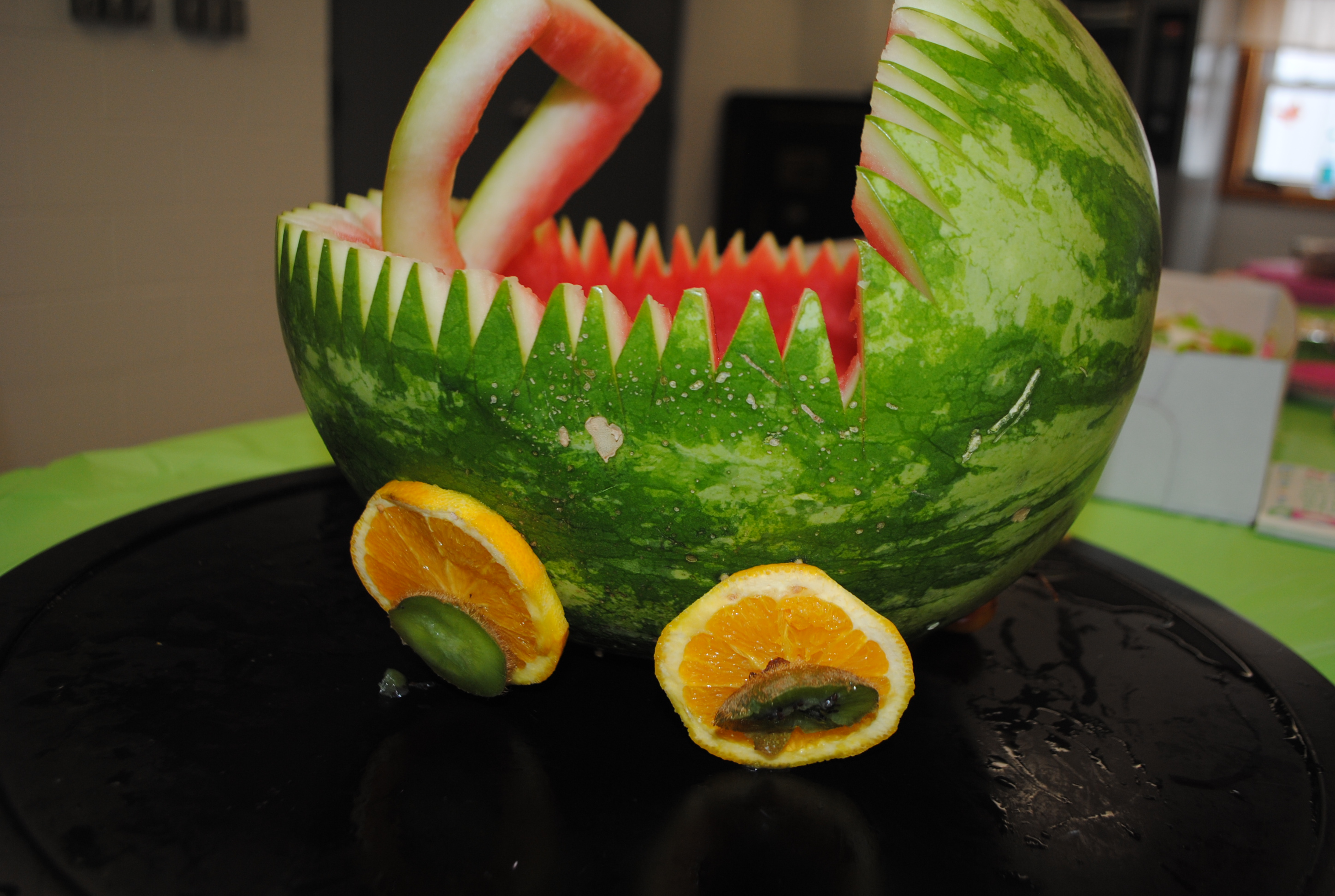 CARVED WATERMELON BABY CARRIAGE FRUIT CENTERPIECE